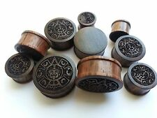 One Pair HandMade Mexican Aztec Mayan Calendar Sono Wood Double Flared Ear Plugs
