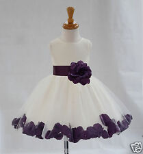 IVORY FLOWER GIRL DRESS WEDDING FORMAL PAGEANT ROSE PETALS 12-18M 2 3T 4 6 8 10
