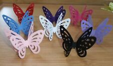 20 3D LARGE PEARLESCENT LACEY BUTTERFLIES TOPPER TABLE DECORATION free standing