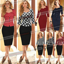 Womens Autumn Elegant Peplum Wear To Work Business Casual Party Sheath Dress 945