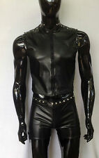 BLACK FAUX LEATHER STRETCH PVC MENS SHORTS-FETISH KINKY FUN !