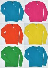 New Women's Ralph Lauren Polo Classic Cabled V-Neck Sweater