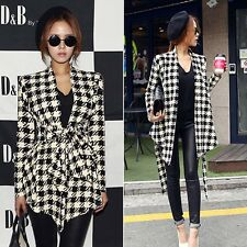 New Women Long Sleeve Houndstooth Lapel Peplum Cardigan Jacket Coat Blazer Suit