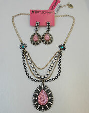Betsey Johnson Film Noir Pink Glitter Teardrop Necklace Earrings NWT