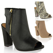LADIES WOMENS CUT OUT BACK PEEP TOE CHUNKY BLOCK MID HIGH HEEL ANKLE BOOTS SHOES