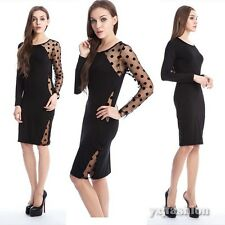 Women Sexy Sheer Party Clubwear Cocktail Bandage Bodycon Pencil Short Mini Dress