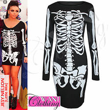 NEW WOMENS SKELETON BONES PRINT BODYCON TOP LADIES PARTY HALLOWEEN FANCY DRESSES