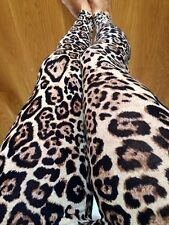 CHEETAH BLACK BROWN Animal leggings LEOPARD Ankle pants tights Cotton S M L