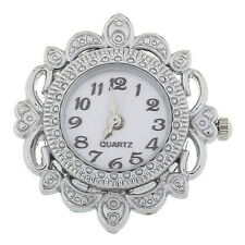Wholesale Jewelry Quartz Watch Faces Hollow W/Battery Silver Plated 3.2x3.1