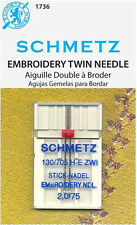 Schmetz 1736 Twin Embroidery Sewing Machine Needles 130/705H-E 15x1 Size 2.0/75