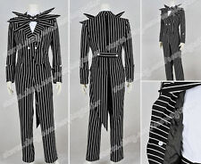 The Nightmare Before Christmas Cosplay Jack Skellington Costume Stripe Suit New