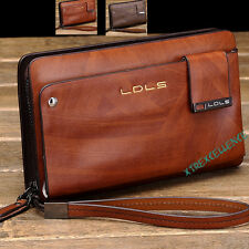 MEN'S WOMEN'S GENUINE LEATHER ZIPPER BUSINESS LARGE WALLET CLUTCH PURSE HAND BAG