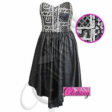 NEW WOMENS LADIES SEQUIN STRAPLESS TOP PU DRESS ASYMMETRIC SKIRT LOOK BOOBTUBE
