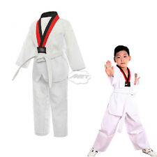 Taekwondo TKD Judo Uniform V-neck Tae Kwon Do Dobok Traning Set with Belt White