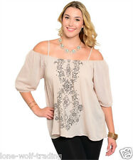 Ladies Off the Shoulder Taupe Top-Plus Size 1x,2x,3x