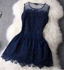 New Summer Fashion Sexy Women Ladies Round Neck Lace Mini Party Evening Dress