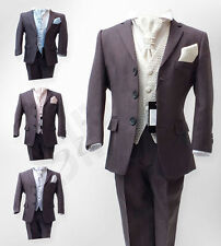 Italian Cut 5 PC Boys Grey Wedding Suits, Pageboy Grey Suit Age 6 M to 15 Years