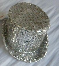 Silver Sequin Top Hat Used Dance Rocky Horror Sparkly Halloween Costume H1