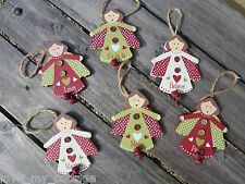 Shabby Chic Red Green Woodland Fairy Hanging Christmas Tree Decoration Believe
