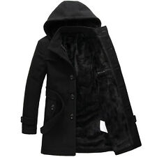Mens trench coat warm lined hooded Detachable Casual winter Jacket peacoat parka