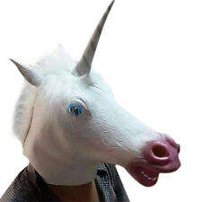 Fashion Halloween Creepy Unicorn Head Latex Mask Costume Theater Prop Crazy Mask