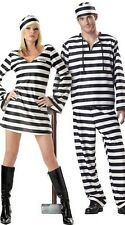 PRISONER COSTUME Halloween Convict Jail Adult Outfit Black White Men/Women Dress
