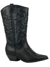 Soda Women Cowgirl Cowboy Western Stitched Boots Pointy Toe Knee High Black RENO