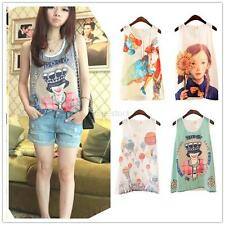 Summer Lady Print Chiffon Vest Tank T Shirt Sleeveless Loose Blouse 8 Typ S~XL