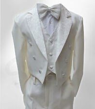 Baby Boys 5 Piece Ivory Tuxedo Tail Suit Page Boy Outfit in Cream 3 M to 6 YRS