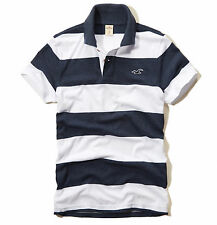 Hollister by Abercrombie Men First Jetty Stripe Polo Shirt Seagull -Free $0 Ship
