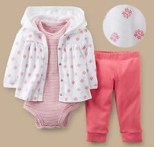Carter's baby girl Pink Floral Hooded Cardigan bodysuits footed pants 3pc set
