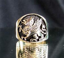 BRONZE RING GRIFFIN COAT OF ARMS GRYPHON LION WITH WINGS ANTIQUED ANY SIZE