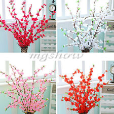 "49.22"" Artificial Cherry Spring Plum Peach Blossom Branch Silk Flower Tree Decor"