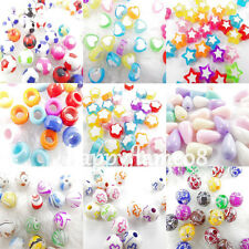 Wholesale 100Pc Mix Color Acrylic Stars Heart Round Shape Art Loose Spacer Beads