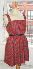 Baylis & Knight Red TARTAN Mini Sun Tea Dress Cute Vintage Scottish Steampunk