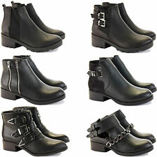 WOMENS LADIES FLAT LOW HEEL CUT OUT CHELSEA RIDING BIKER ANKLE SHOE BOOTS SIZE