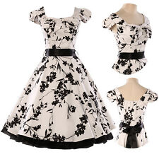 EVER PRETTY ❤ White & Black FLORAL 40's 50's ROCKABILLY SWING PROM VINTAGE DRESS