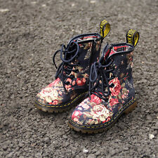 NEW Vintage Baby Girls Toddler Floral Denim Boots 1.5-10 Years 10 Sizes 2 Colors