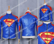 Superman Cosplay Smallville Clark Kent Costume Blue Leather Jacket High Quality