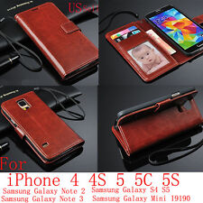 Genuine Real Leather Flip Wallet Case Cover For iPhone Samsung Galaxy