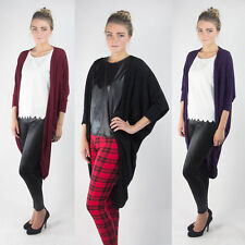 Ladies Womens New Fine Knit Bat Wing Cardigan Long Loose Cocoon