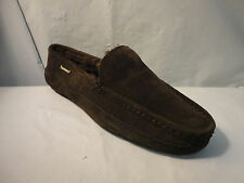 Bearpaw Brown Suede Driving Moccasin Men's Slippers Shoes w/ Sheepskin Lining