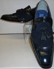 Mens Elegant Slip On Shoes Navy Blue Mixed Media Loafers Giorgio Brutini 210793