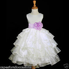 IVORY ORGANZA FORMAL SASH FLOWER GIRL DRESS PAGEANT GOWN 12-18M 2 3 4 5 6 7 8 10