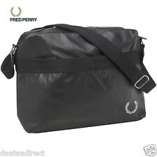 Fred Perry Shoulder Bag Deconstructed Black Zip fastening faux leather RRP£49.99
