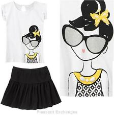 NWT Gymboree 7 YELLOW and BLACK 2pc Glitter Sunglasses Girl Top Skort Skirt TWIN