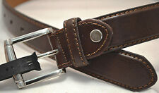 Belt ITALY STYLE Narrow Brown Leather Contrast Stitching Men Women BRAND NEW 022