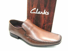 MENS CLARKS CLASSIC SLIP ON LOAFER MOCCASIN SHOES FERRO STEP TAN LEATHER G FIT