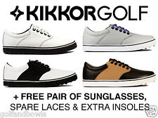Kikkor Mens Player Premium Leather Spikeless Waterproof Golf Shoes + Sunglasses