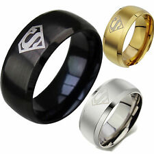 Great Stainless Steel Ring Super Man Superman Triangle Jewelry Black Gold Silver